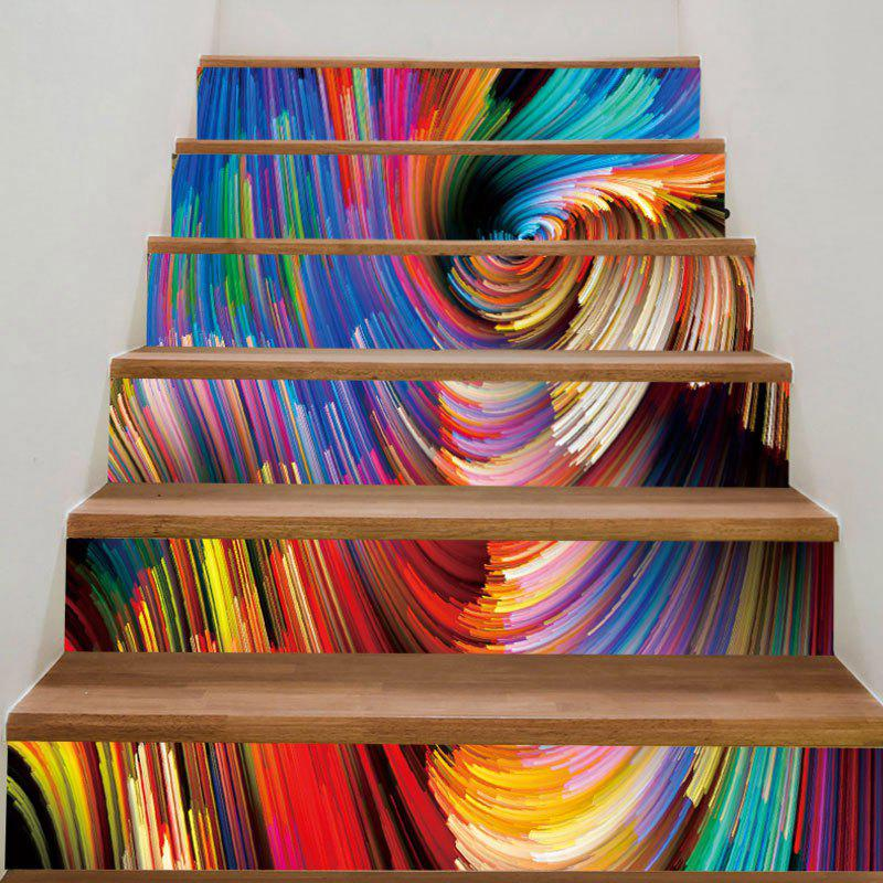 Colorful Painting Printed DIY Removable Stair Stickers - COLORFUL 100*18CM*6PCS