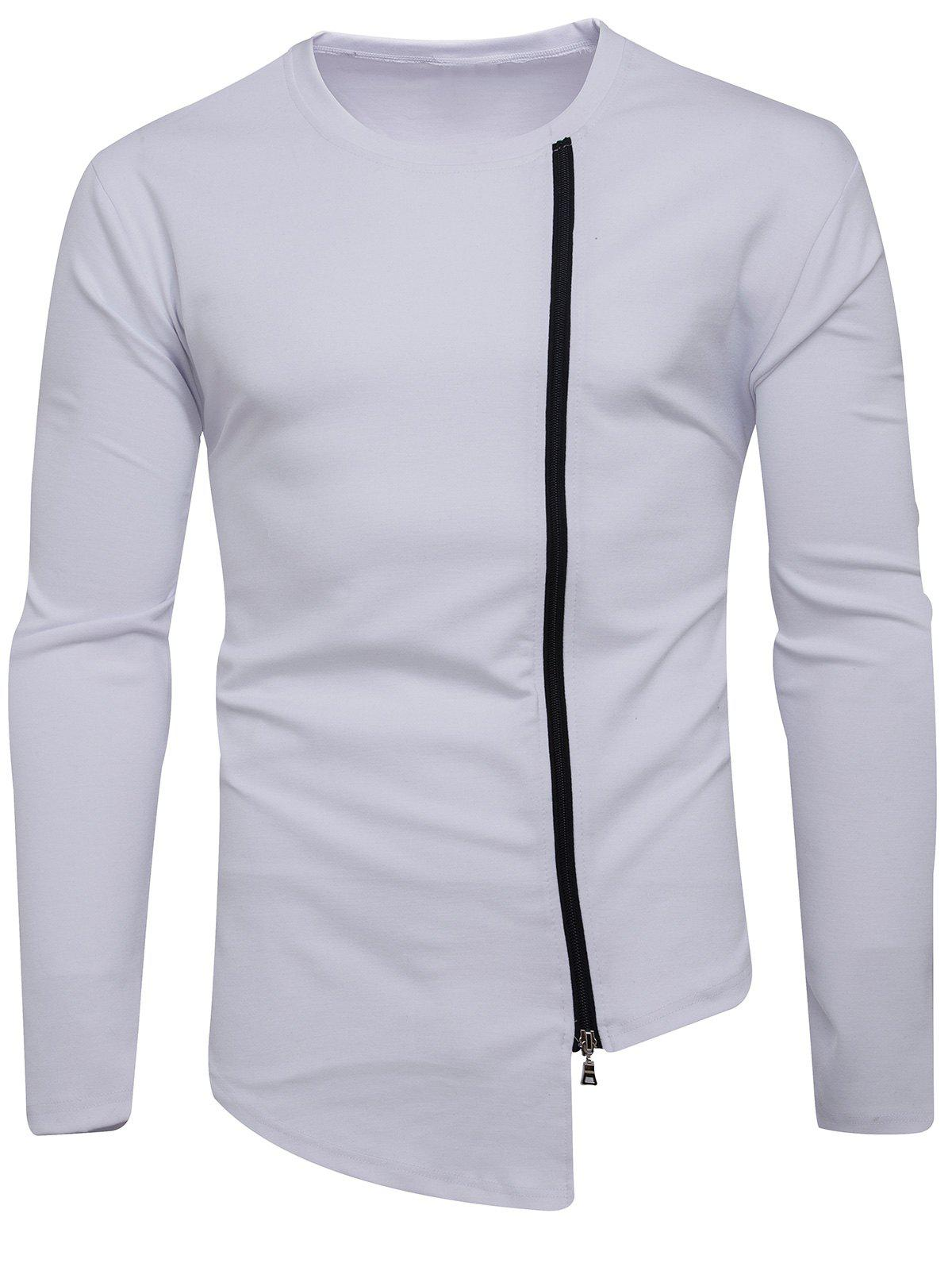 Long Sleeve Oblique Zip Up Asymmetric T-shirt - WHITE L