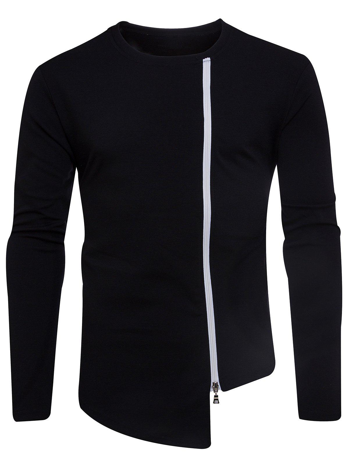 Long Sleeve Oblique Zip Up Asymmetric T-shirt - BLACK S