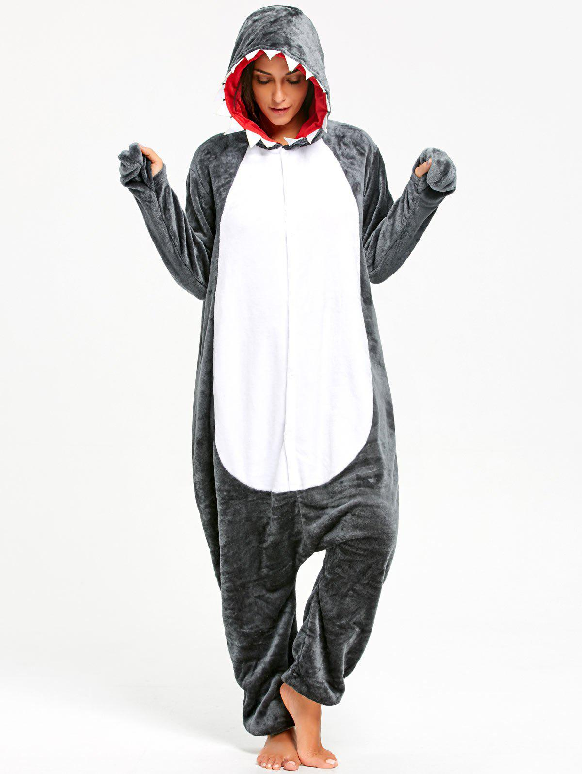 Adult Shark Animal Onesie Pajama Costume - DARK GRAY M