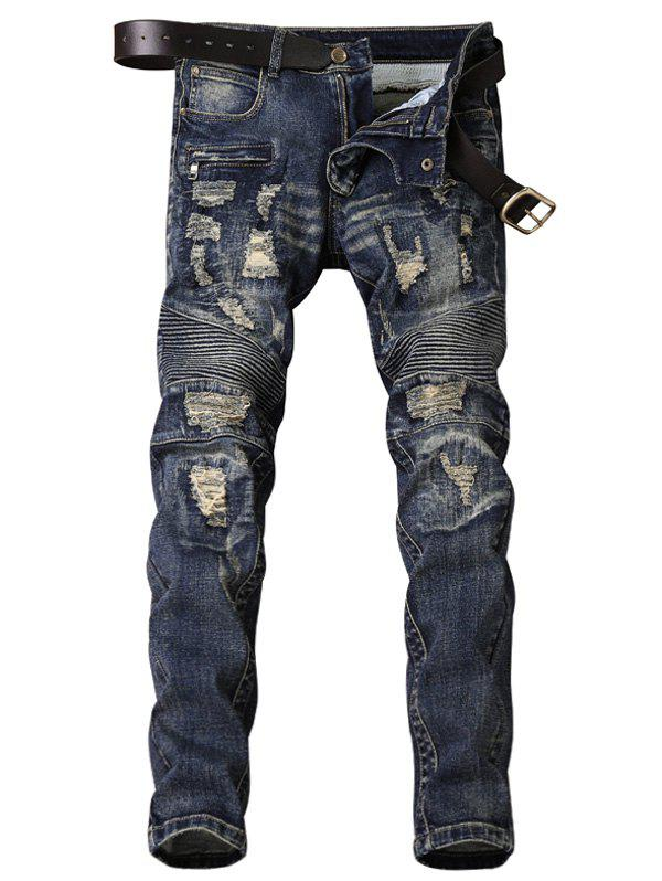 Bleached Accordion Pleat Ripped Biker Jeans - BLUE 38