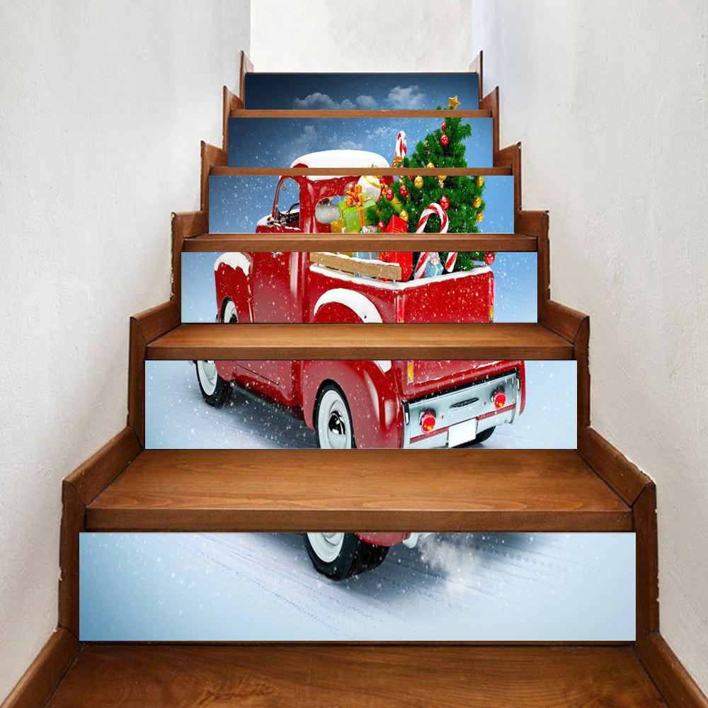 Christmas Car Gifts Pattern Stair Stickers - RED 100*18CM*6PCS