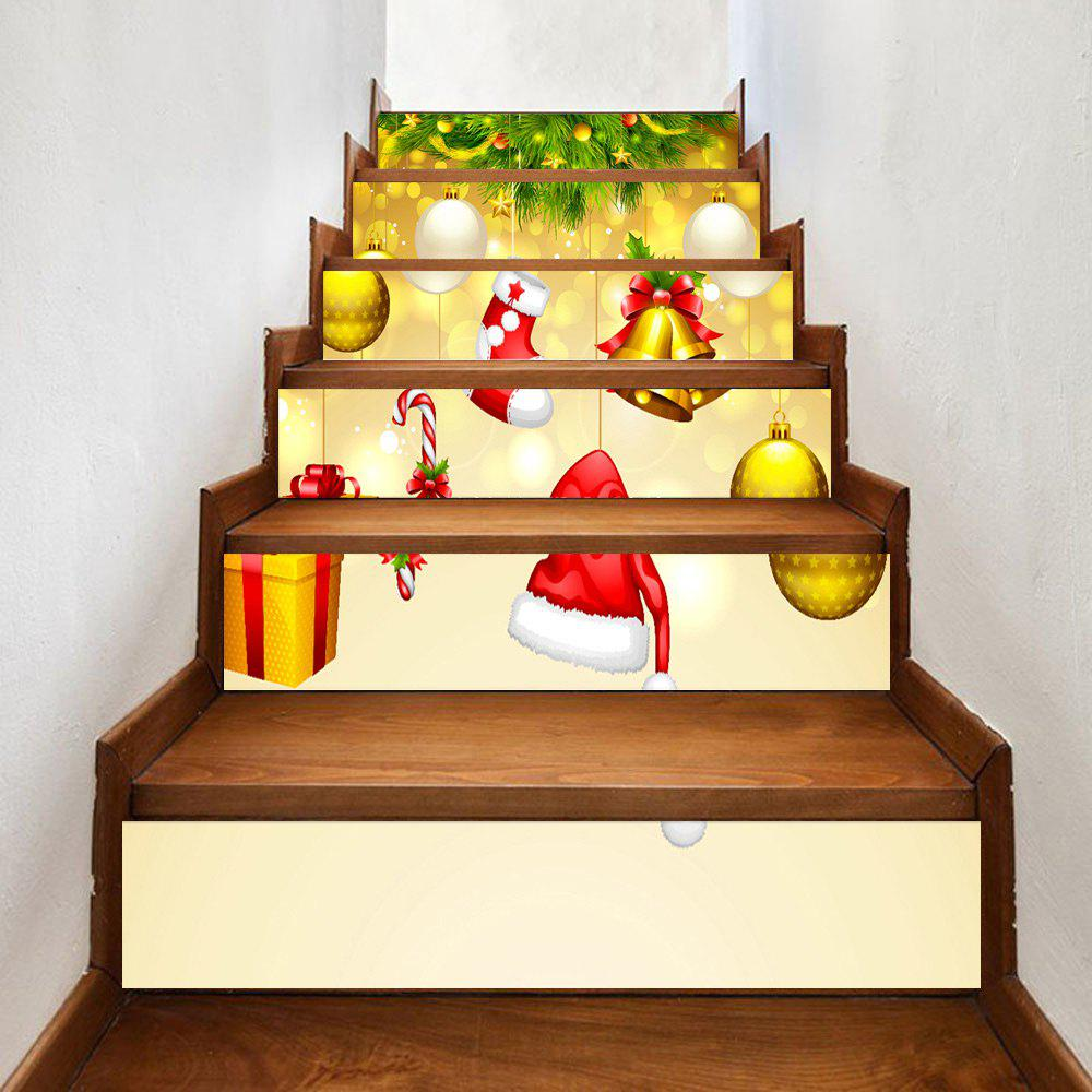 Christmas Hangings Print 6 Pieces Home Stairs Stickers - GOLDEN 100*18CM*6PCS