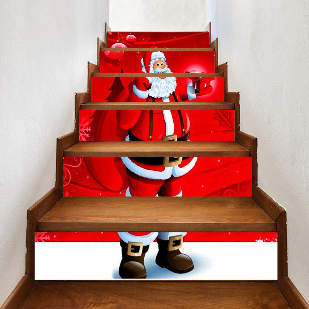 Santa Claus Send Gifts Print 6 Pieces Home Stairs Stickers - RED 100*18CM*6PCS