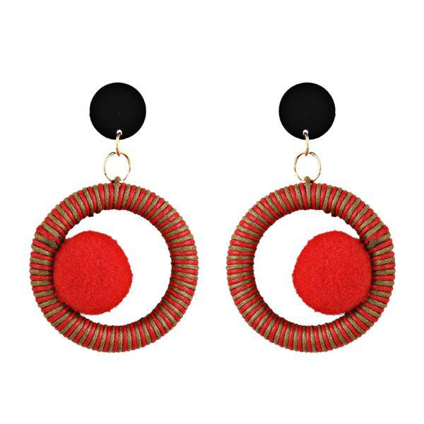 Circle Fuzzy Ball Drop Earrings - RED