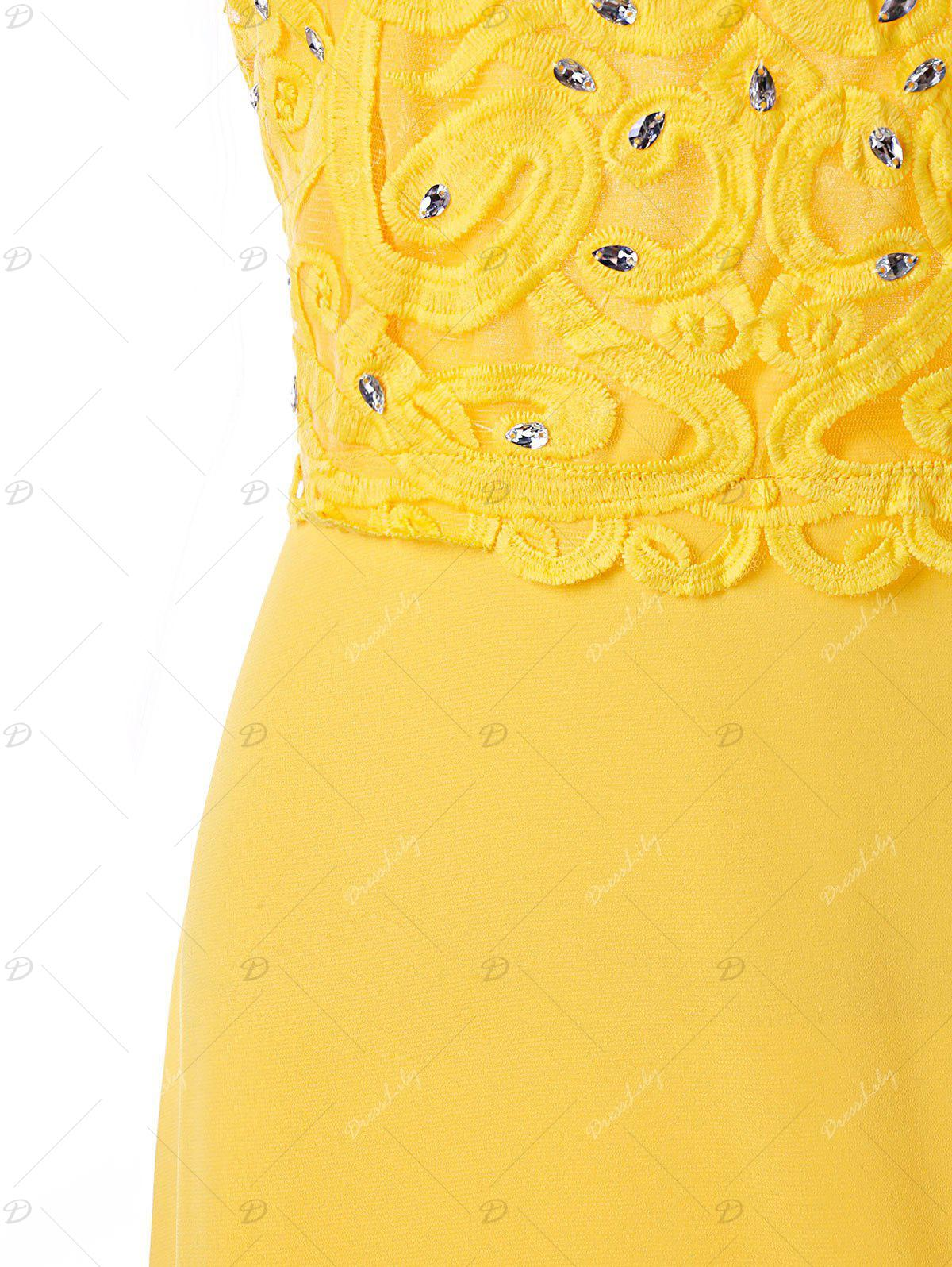 Beaded Applique Backless Prom Dress - YELLOW XL