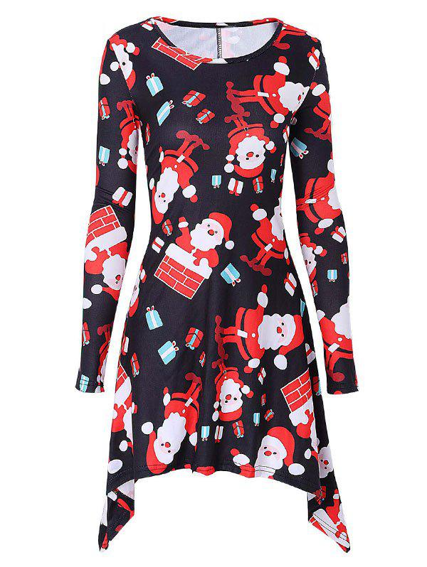Santa Claus Print Christmas Mini Swing Dress long sleeve santa print christmas mini swing dress