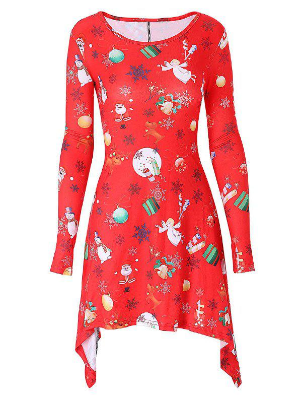 Long Sleeve Printed Christmas Mini Swing Dress - RED 2XL