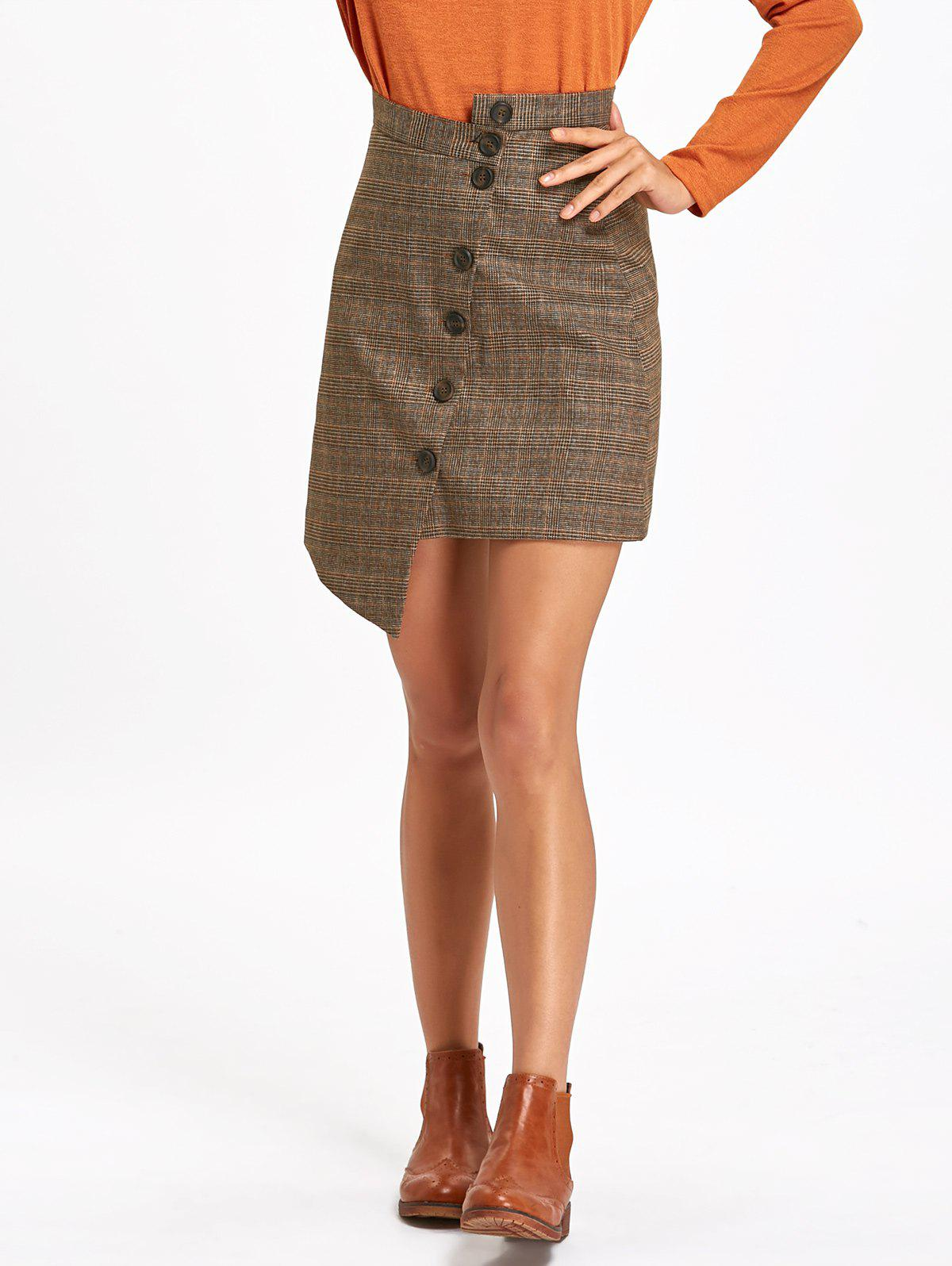 Button Down Plaid Asymmetrical Skirt - TAUPE M