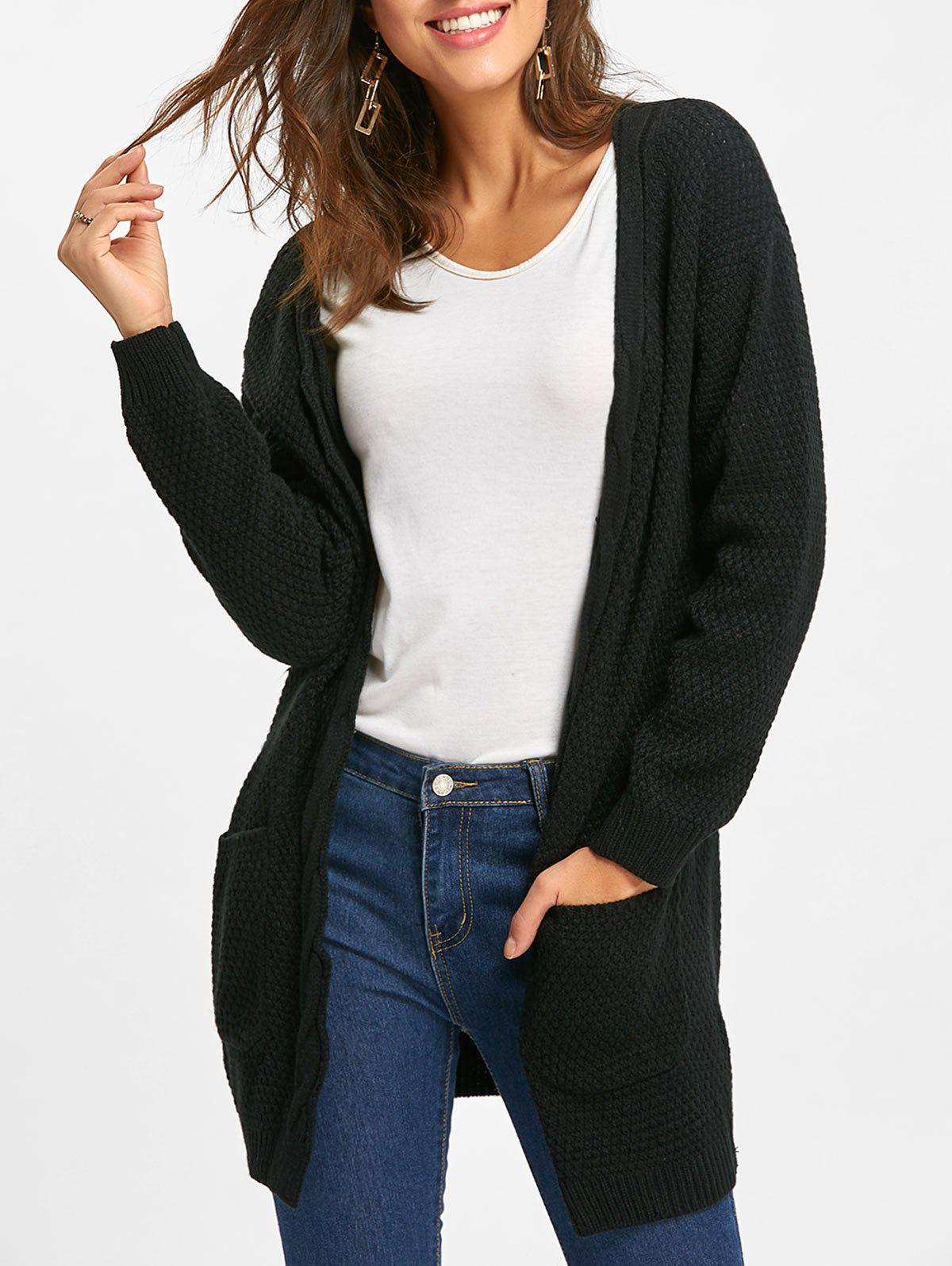 Pocket Open Front Longline Knitted Cardigan open front longline striped cardigan