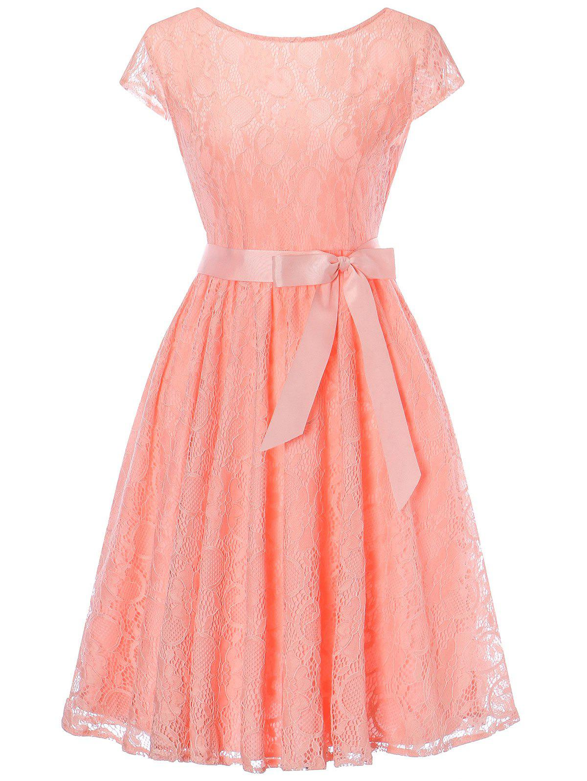 Cap Sleeve Lace Swing Dress with Tie Bowknot - ORANGEPINK M