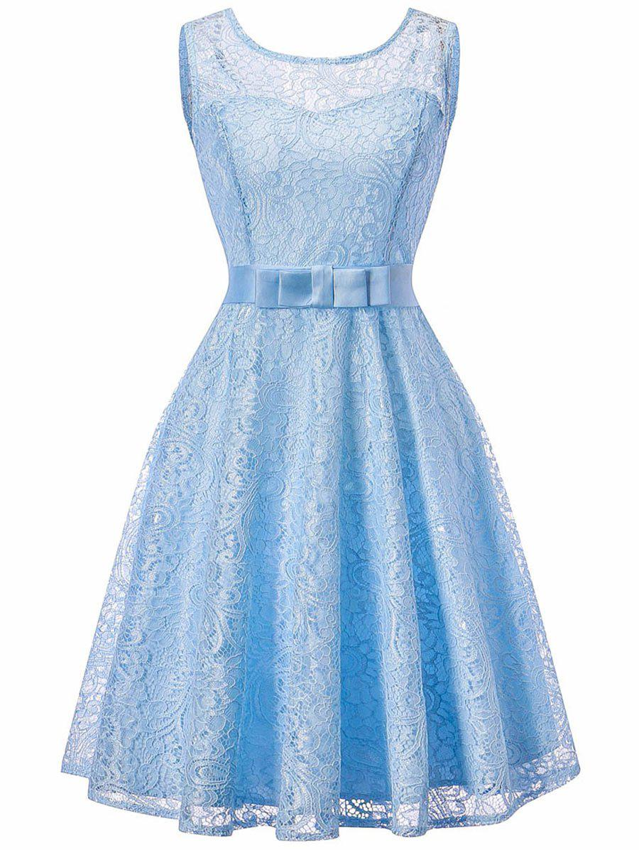 Sleeveless Lace 50s Swing Dress - LIGHT BLUE M