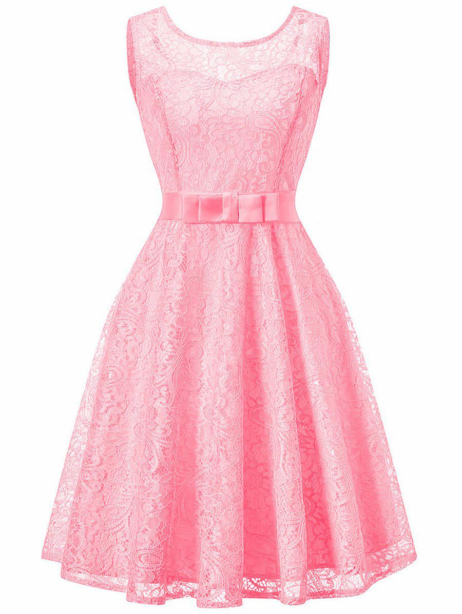Sleeveless Lace 50s Swing Dress - PINK 2XL