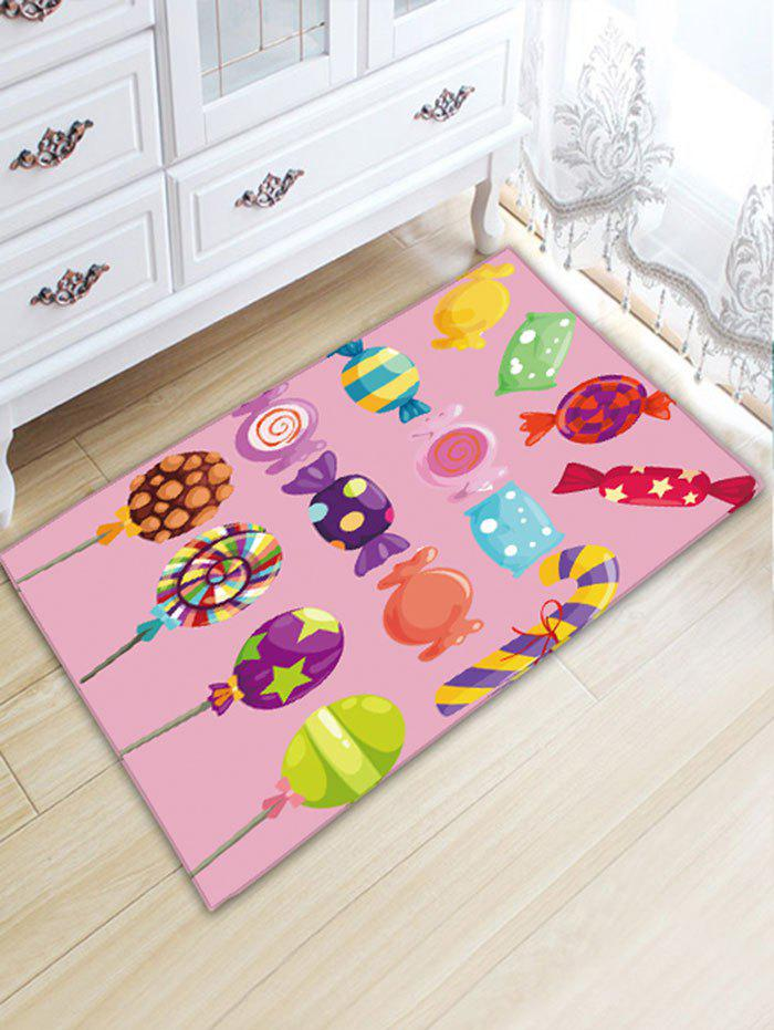 Candy Printed Flannel Skidproof Water Absorption Bath Rug - PINK W20 INCH * L31.5 INCH