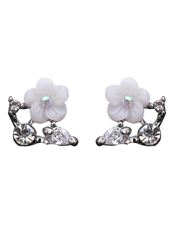 Rhinestone Shell Flower Stud Earrings - SILVER