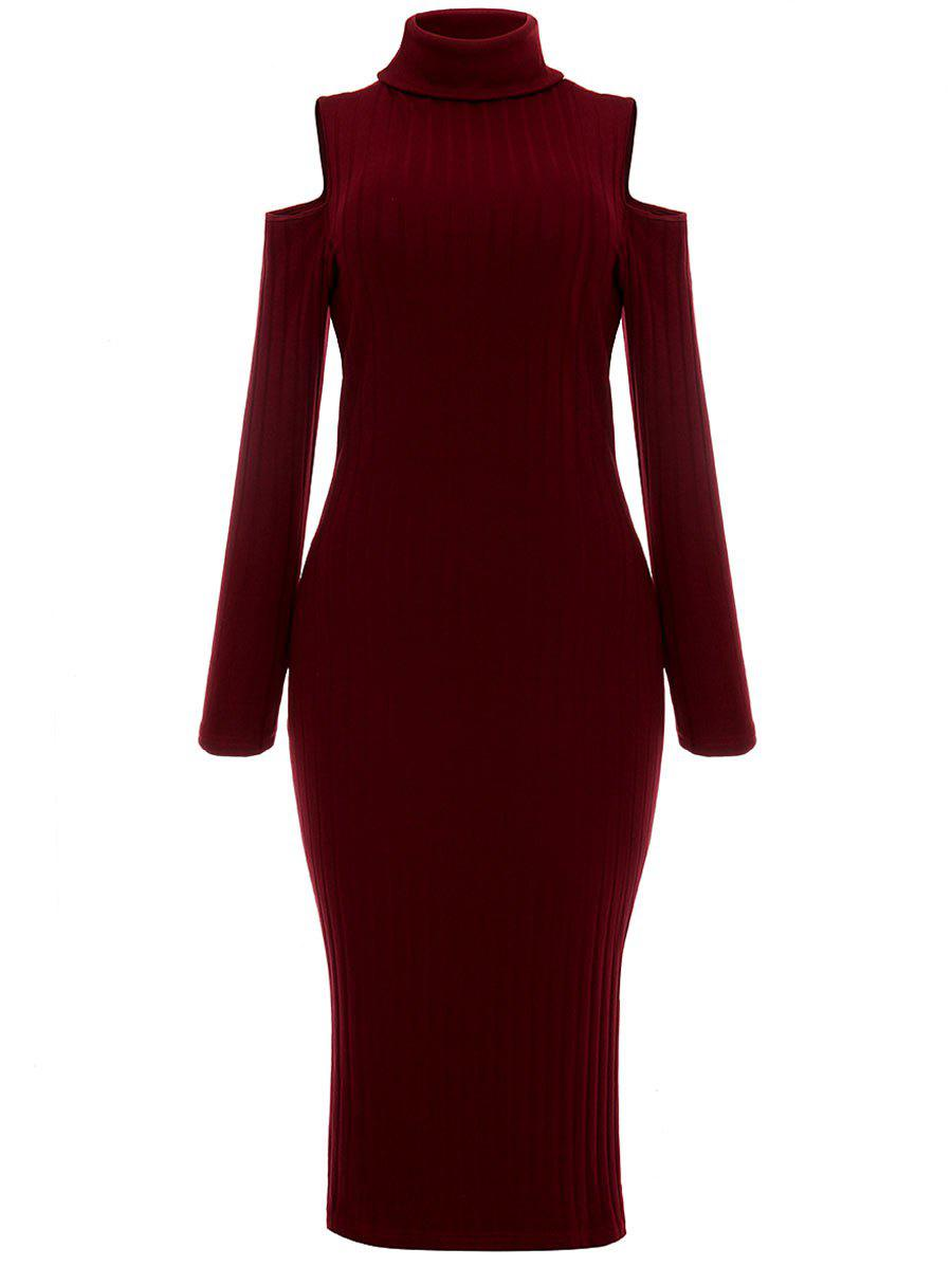 Open Shoulder Ribbed Turtleneck Bodycon Dress - WINE RED L