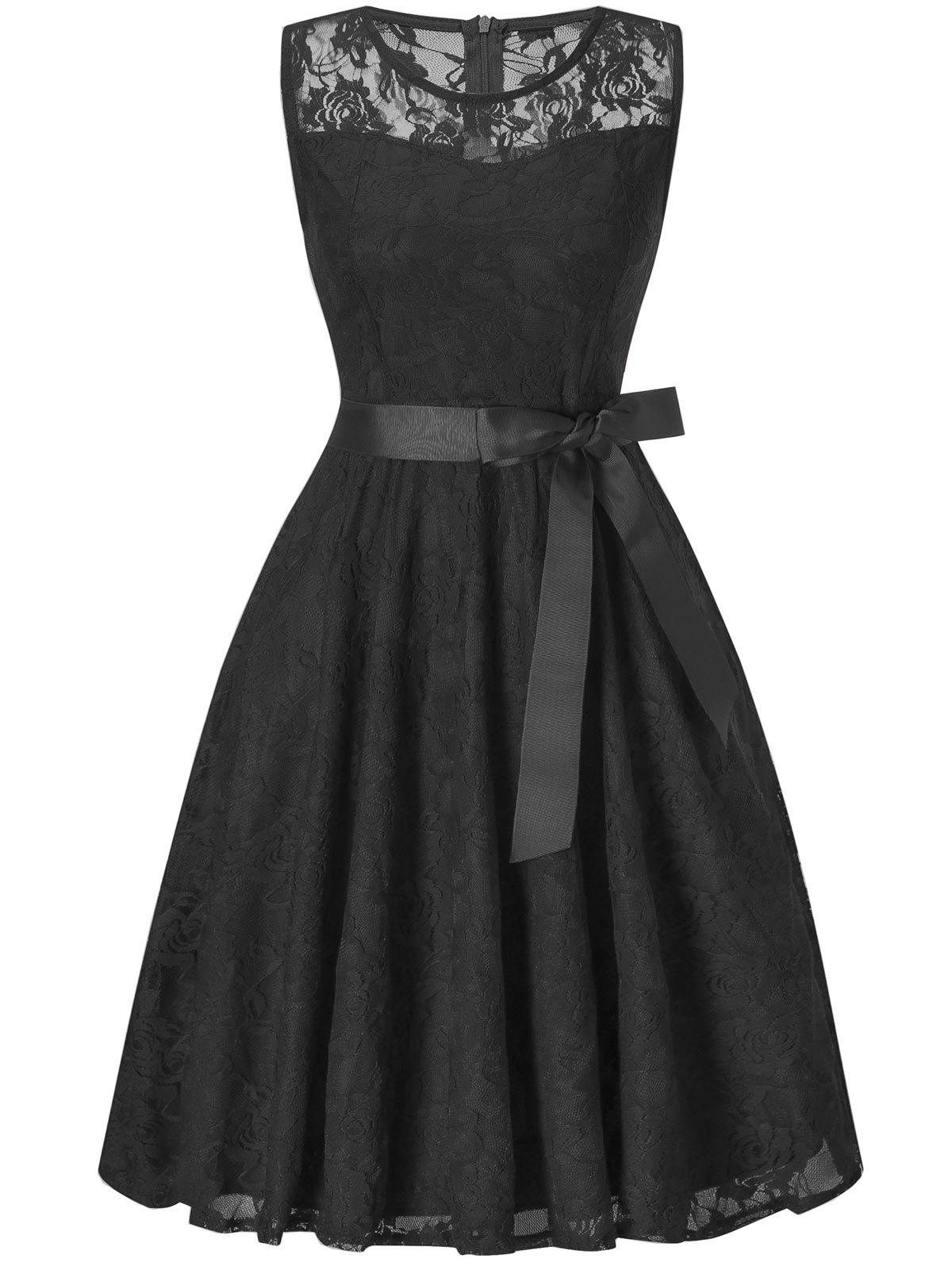 Sleeveless Lace Swing Dress - BLACK L