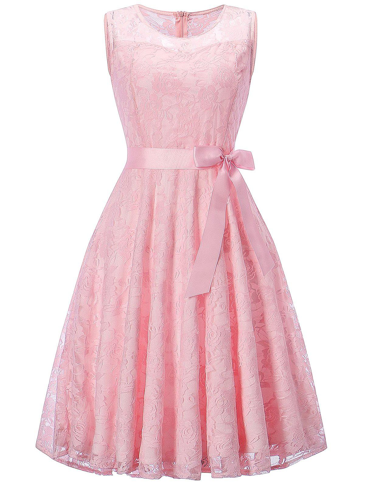 Sleeveless Lace Swing Dress - PINK 2XL
