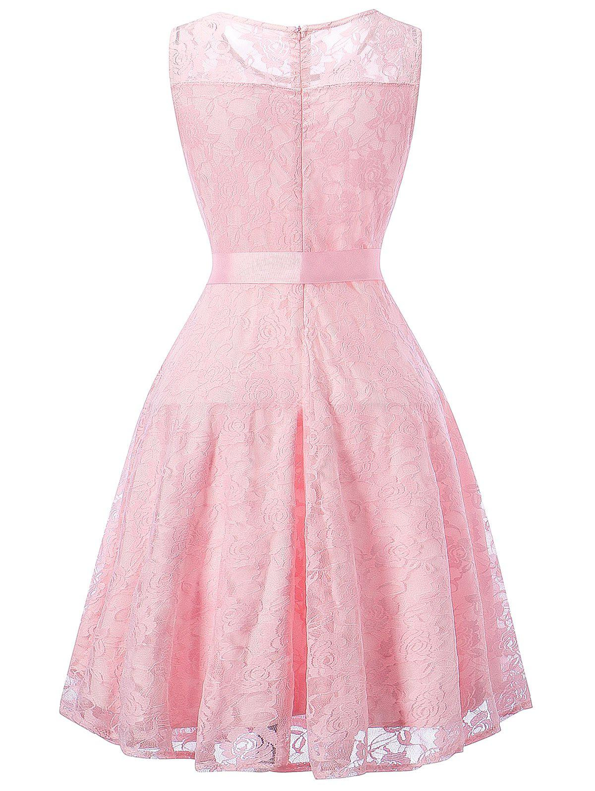 Sleeveless Lace Swing Dress - PINK M