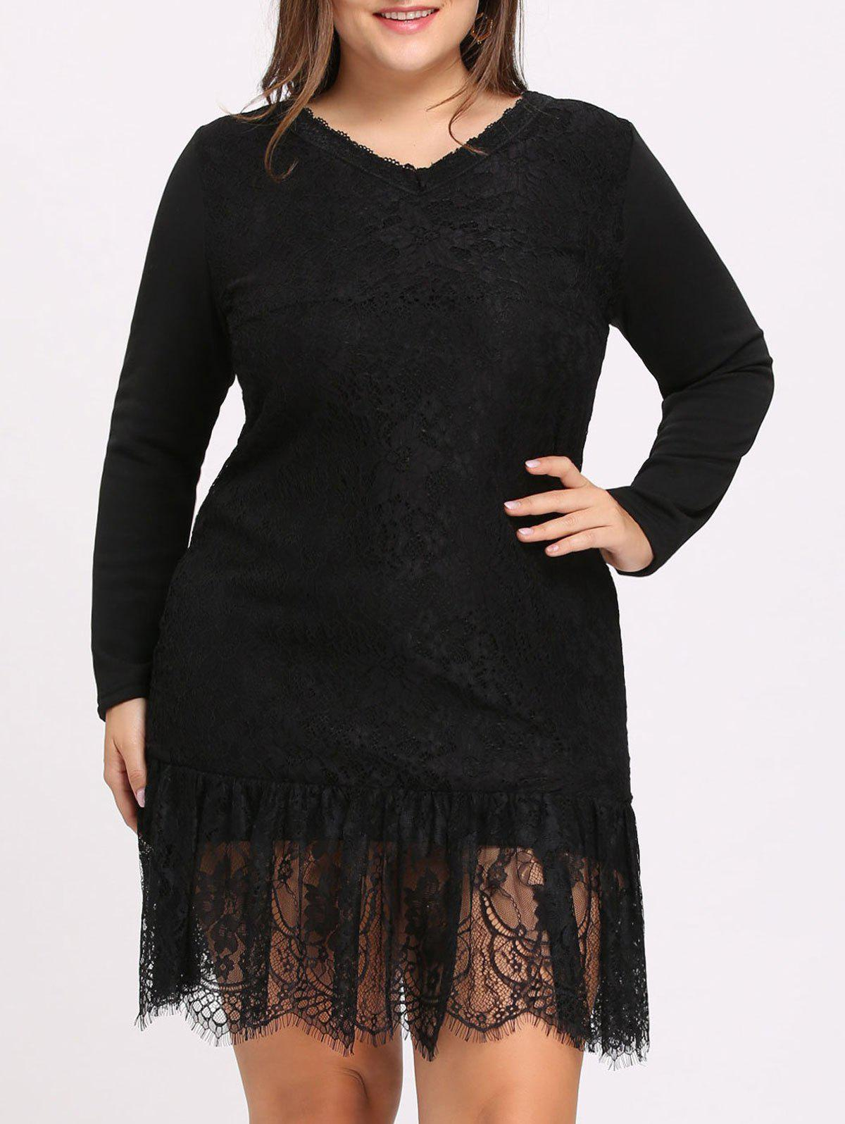 Plus Size Flounce Lace Dress with Sleeves - BLACK 5XL