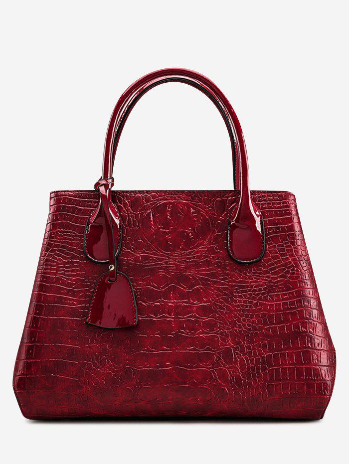 Gaufrage Faux cuir sac à main avec sangle - Rouge vineux