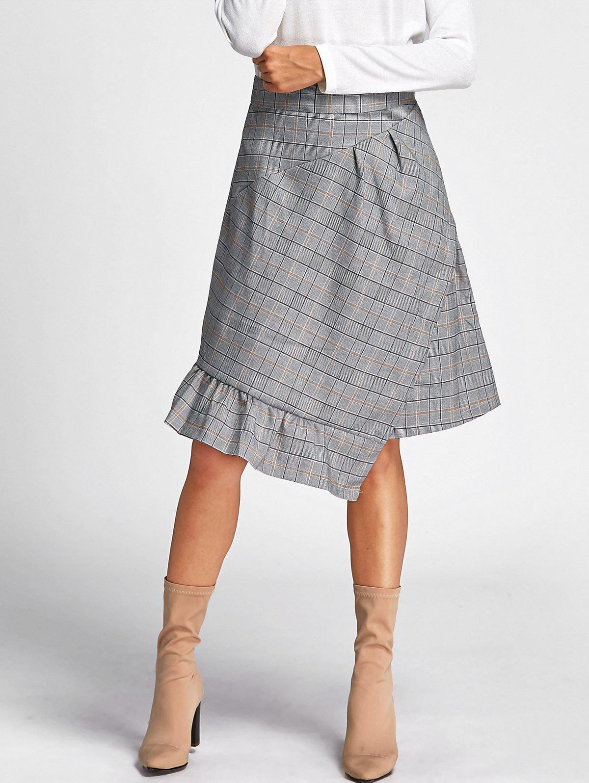 Asymmetrical Plaid Midi Skirt - GRAY M