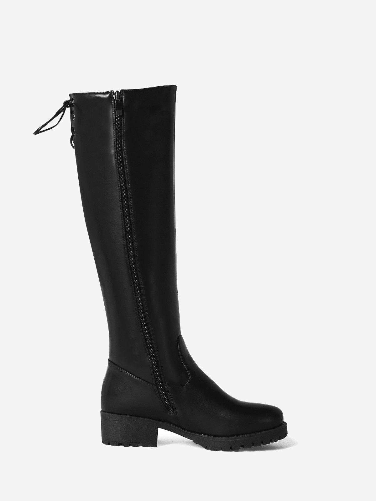 Lace Up Back Block Heel Mid Calf Boots - BLACK 40