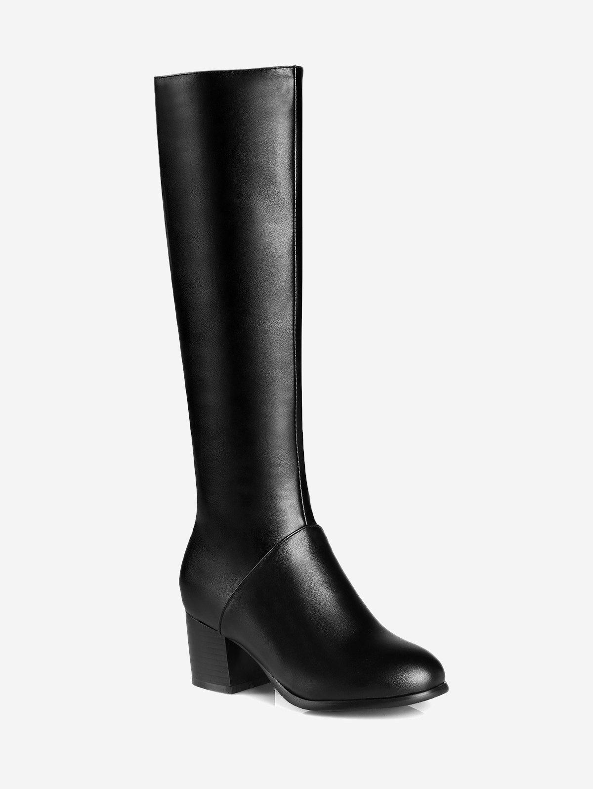 PU Leather Mid Heel Knee High Boots high quality full grain leather and pu mid calf boots size 40 41 42 43 44 rhinestone decoration zipper design square heel boots