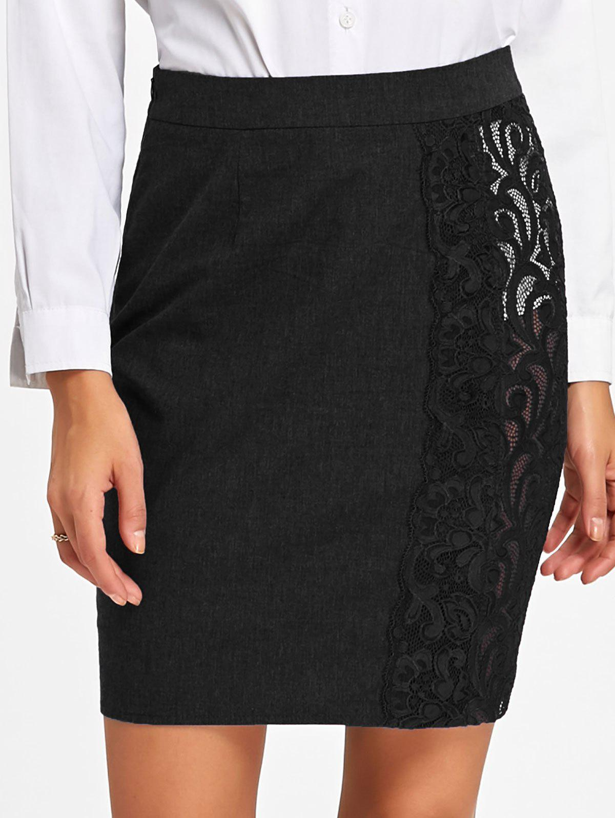 Slim Fit Lace Trim Skirt - BLACK M