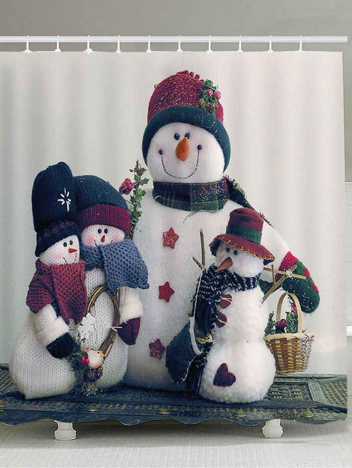 Christmas Snowmen Family Printed Shower Curtain - RED/WHITE/BLUE W59 INCH * L71 INCH