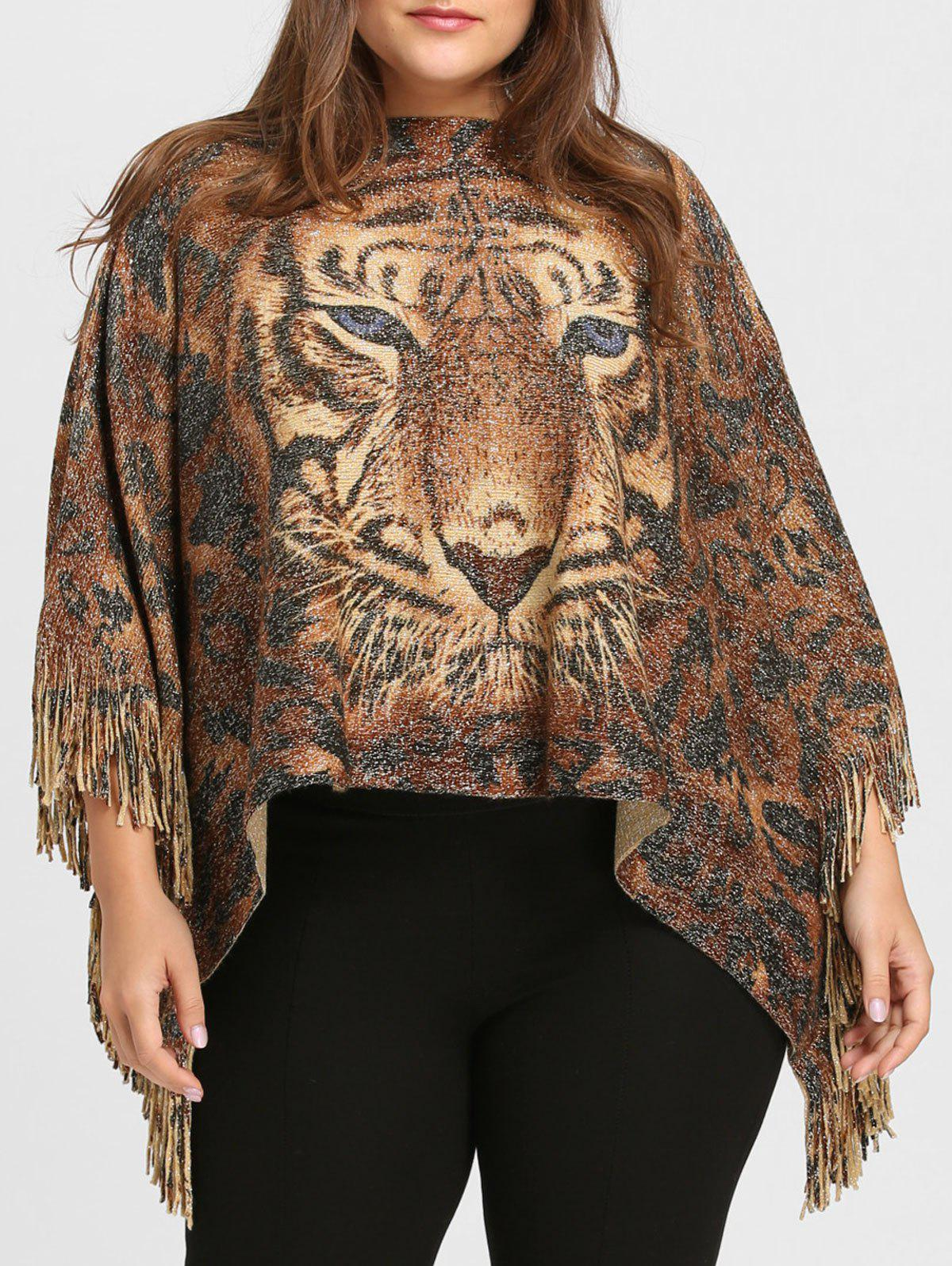 Plus Size Glitter Tiger Printed Fringed Poncho Sweater hollow out plus size poncho sweater