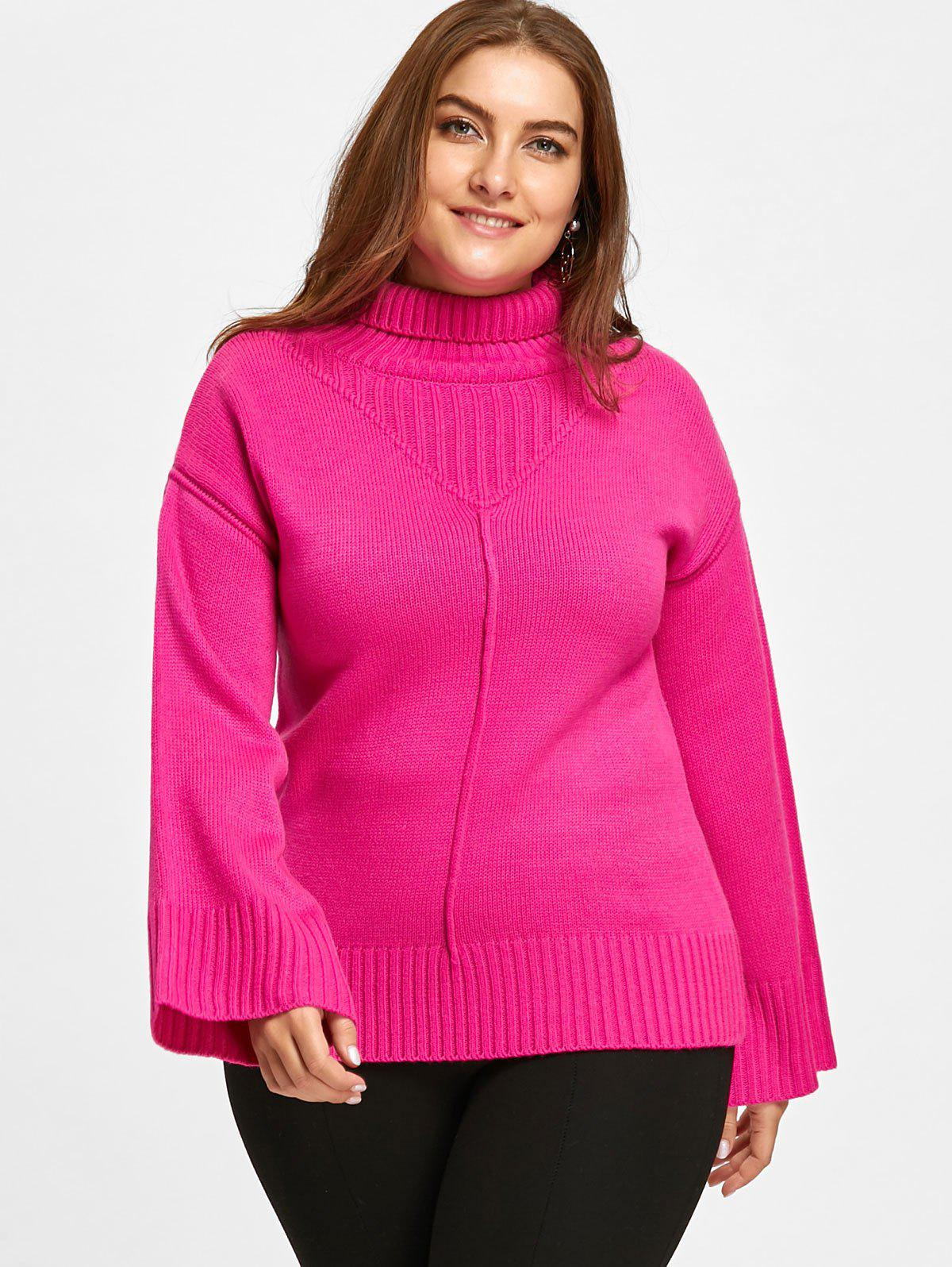 Plus Size Loose Knit Turtleneck Tunic Sweater
