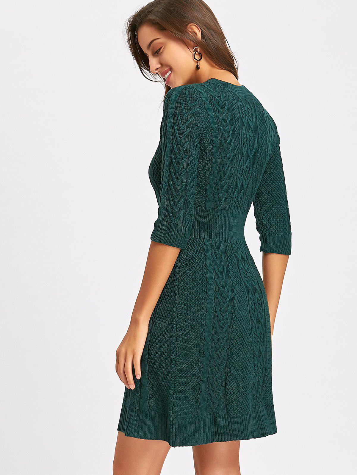 Crew Neck Cable Knitted Mini Dress - GREEN S