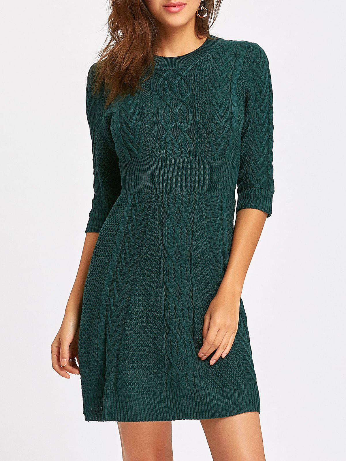 Crew Neck Cable Knitted Mini Dress - GREEN L
