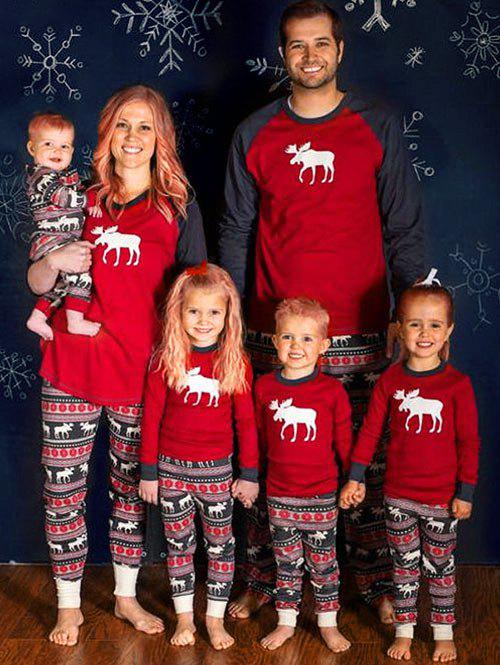 ELK Deer Matching Family Christmas Pajama Set - RED MOM L