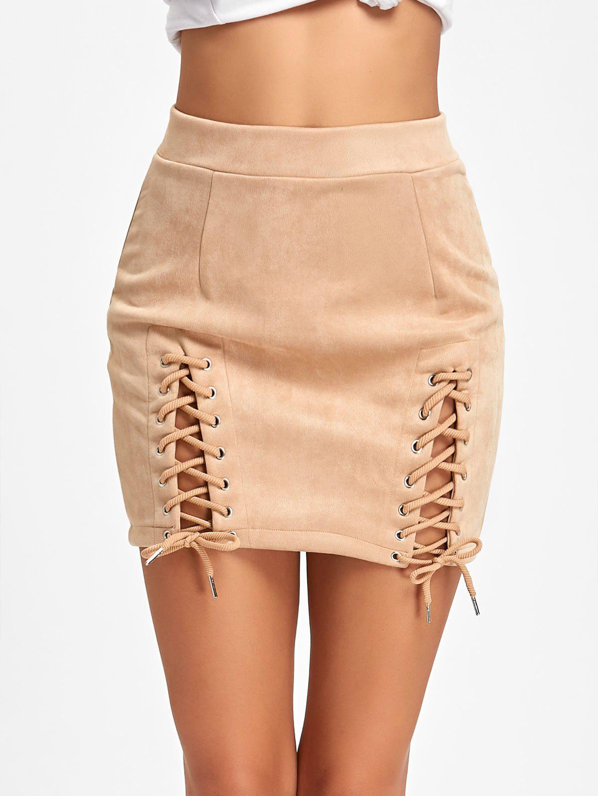 Faux Suede Lace Up Mini Skirt - APRICOT M