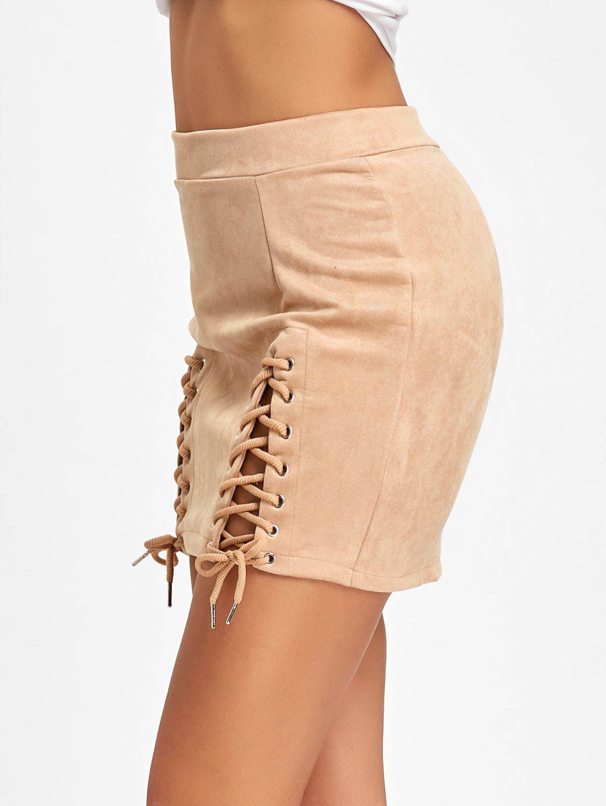 Faux Suede Lace Up Mini Skirt - APRICOT XL