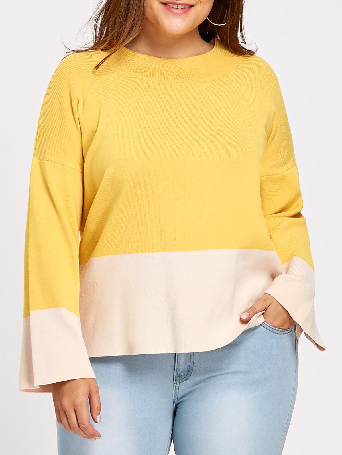 2017 Color Block Mock Neck Plus Size Sweater YELLOW XL In Plus ...