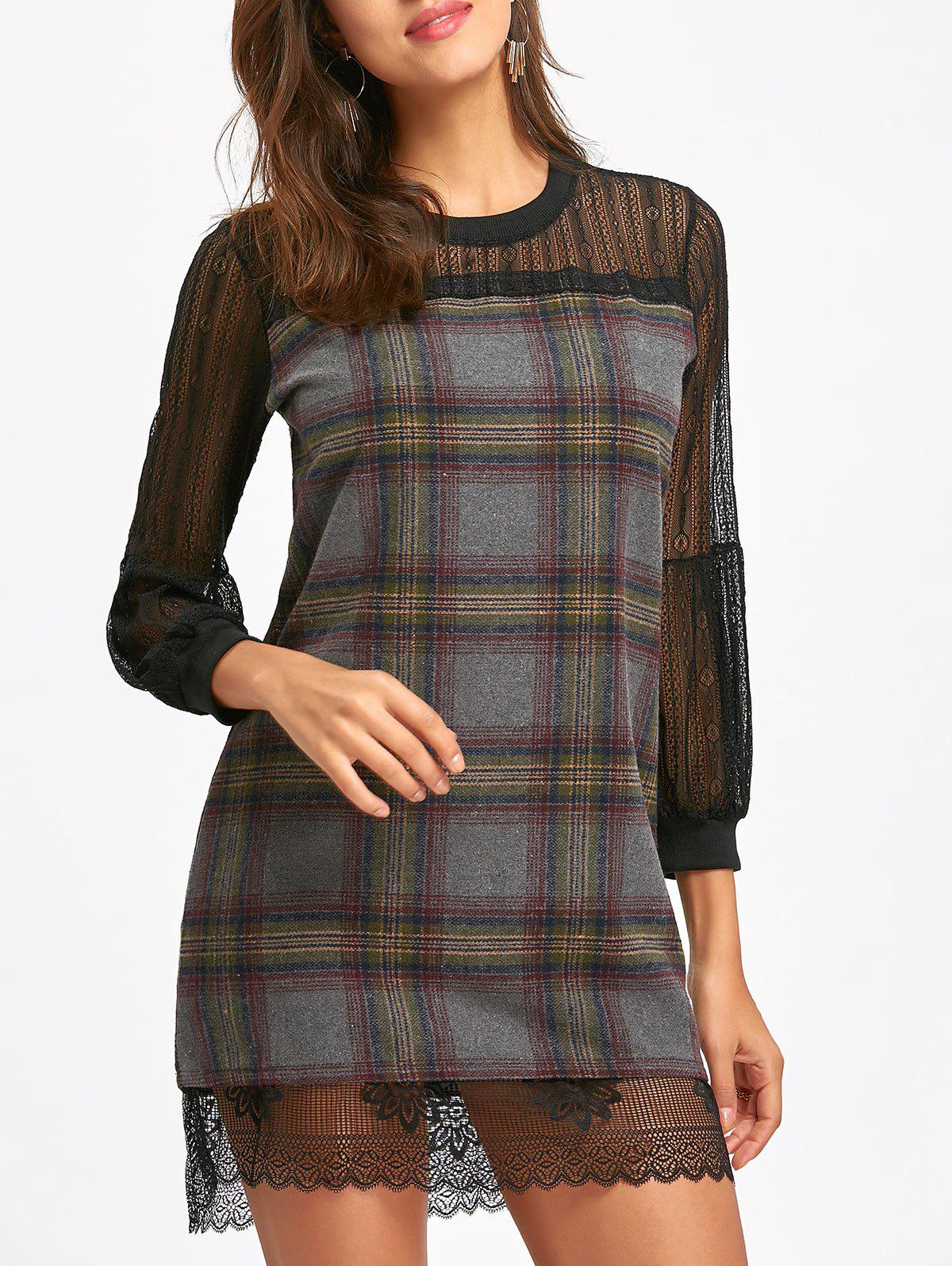 Lace Insert Plaid Puff Sleeve Mini Wool Dress long sleeve lace insert mini dress