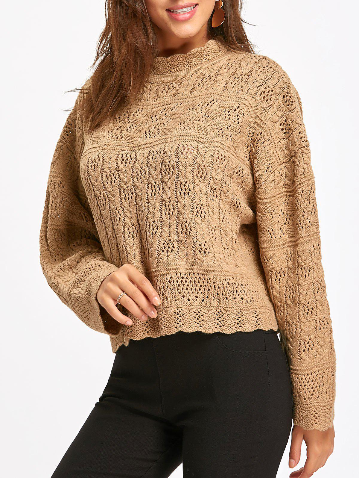 Mock Neck Scalloped Hollow Out Sweater - KHAKI ONE SIZE