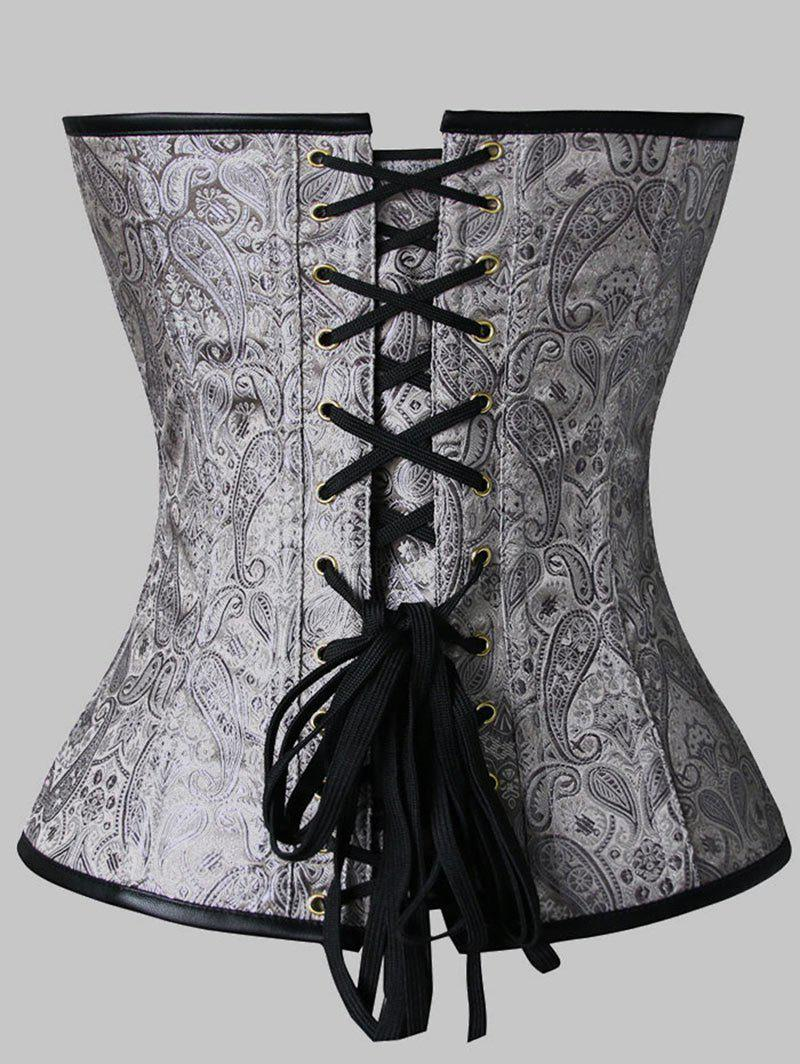 Plus Size Paisley Zip Faux Leather Panel Corset - GRAY 5XL