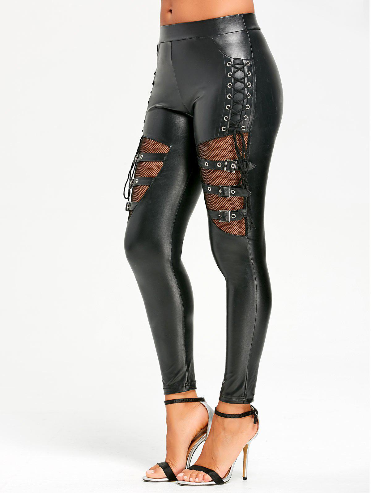 Fishnet Trim Lace Up PU Leather Pants - BLACK M