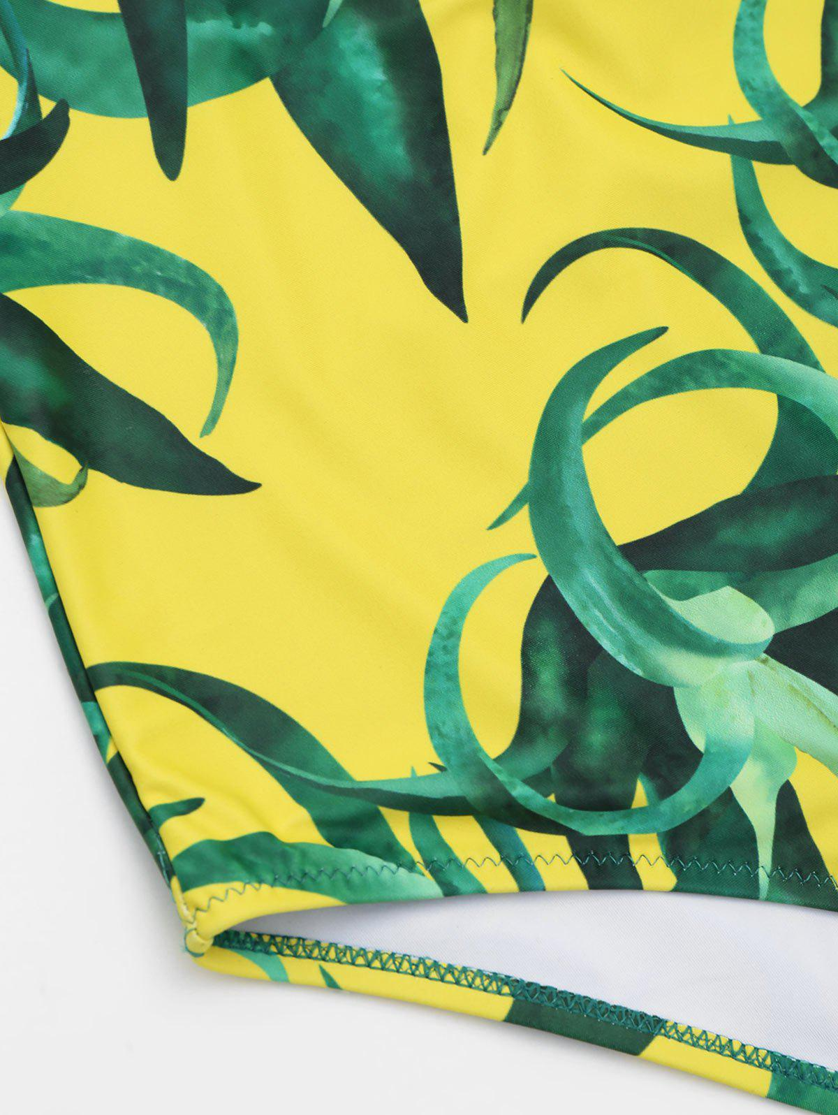 One Piece Open Back Printed Swimwear - YELLOW S