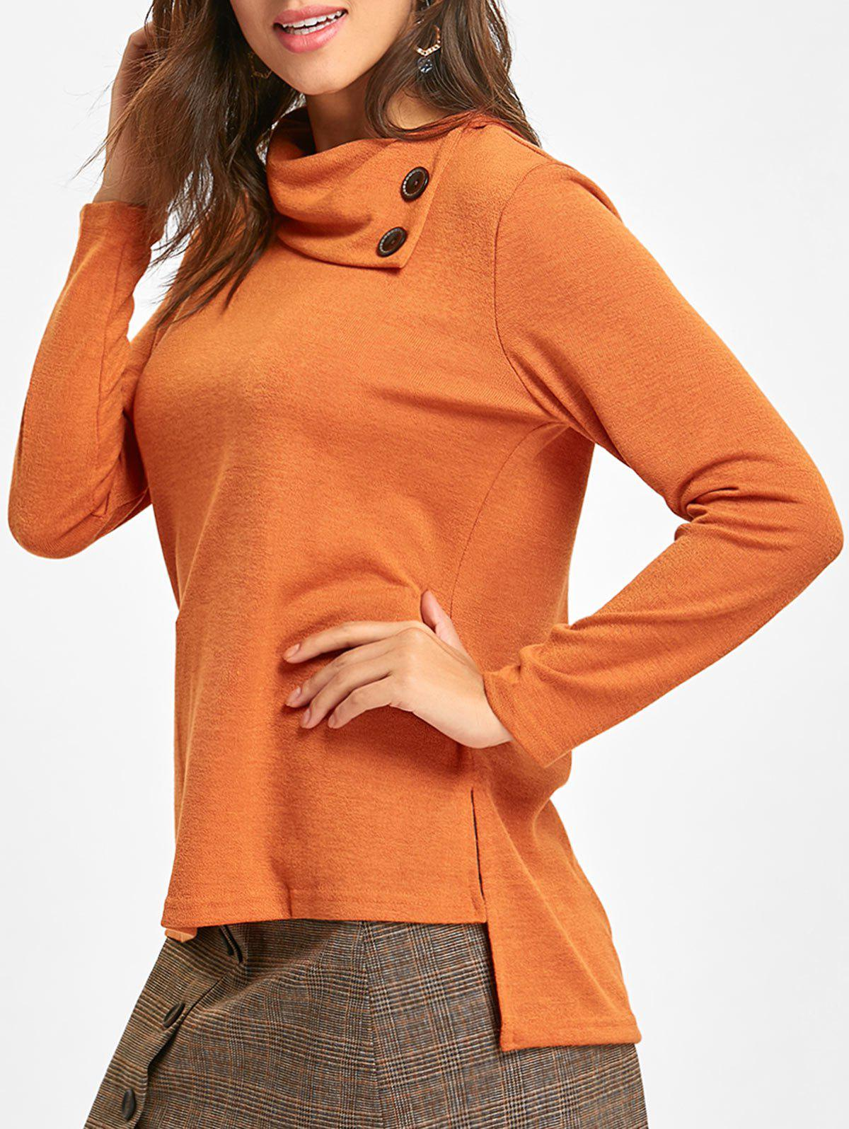 High Low Cowl Neck Sweater - ORANGE M