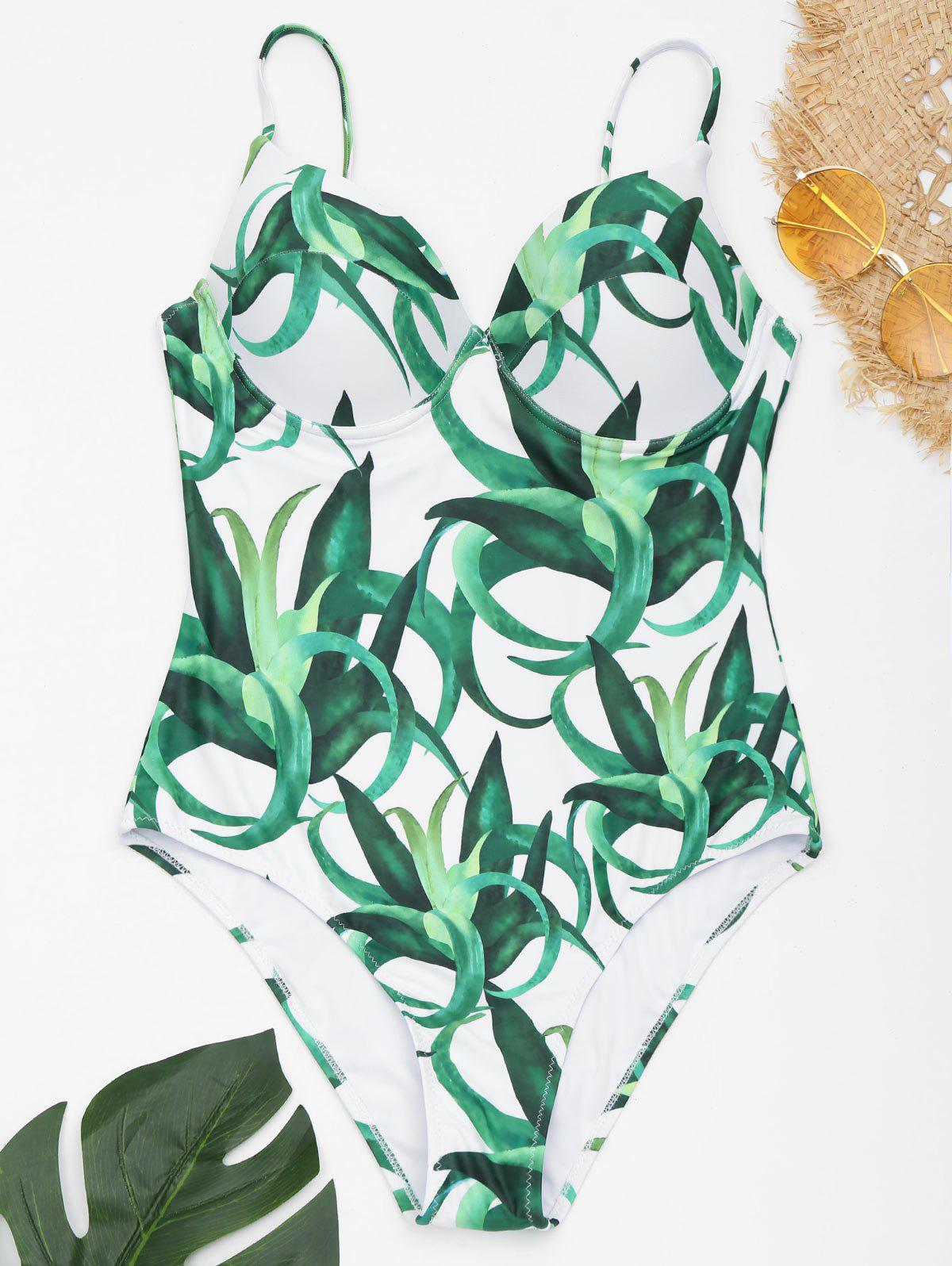 Underwire Spaghetti Strap Printed Swimsuit - WHITE/GREEN 2XL