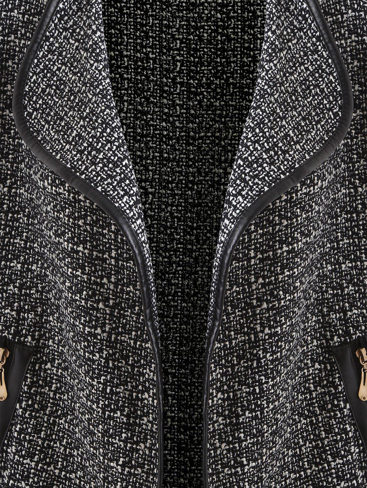 Open Front Tweed Tunic Blazer - WHITE/BLACK M