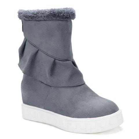 Ruched Slip On Suede Boots - GRAY 38