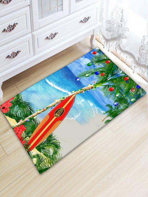 Christmas Coconut Tree Print Flannel Nonslip Beach Style Bath Mat - COLORMIX W20 INCH * L31.5 INCH