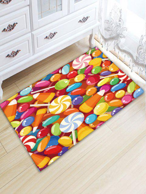 Candies Print Flannel Nonslip Water Absorption Bath Mat - COLORFUL W20 INCH * L31.5 INCH