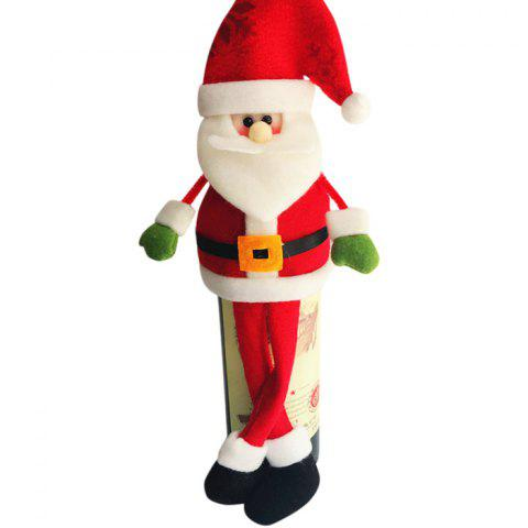 2PCS Christmas Decorated Santa Claus Wine Bottle Covers - RED 13*33CM